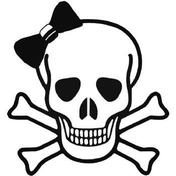 Skull Bow with Crossed Bones Car Stickers Motorbike Vinyl Decals Fairings Panniers